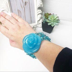 Jewelry - Large Blue Lucite Flower Beaded Bracelet